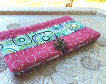 Women's Wallet, Pink and Turquoise Wallet, Clutch