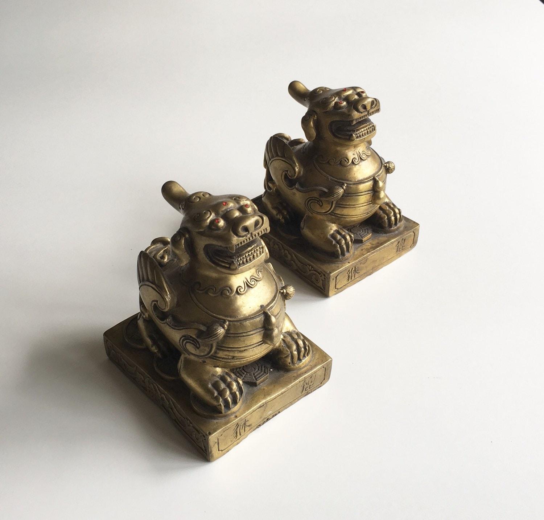 Vintage brass foo dog bookends - Antique brass bookends ...