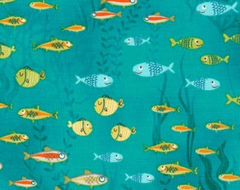 Aquatic Friends by Sea Urchin Studio Swimming Fish AUI-15679-59 Ocean/Teal for Robert Kaufman