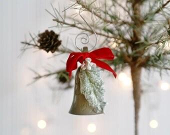 Christmas Brass Bell Ornament, Vintage Brass Bell, Vintage Brass Bell Christmas Ornament, Small Brass Bell Ornament