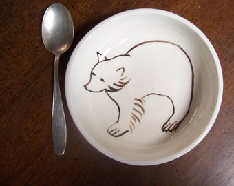 Brown bear cereal bowl