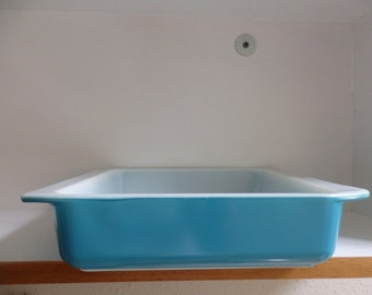 Blue Pyrex #922 Glass Square Baking Dish 8x8x2
