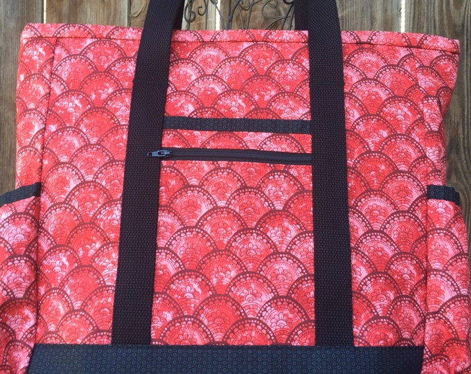 SALE Large Tote Bag with Pockets, Teacher Tote, Work Tote, Diaper Bag, Red Black Fan Kitchen Sink Tote, Professional Tote, Carry On, Nurse