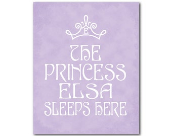 Personalized Princess Print - Personalized Nursery Art - Kids Wall Art - The princess sleeps here - customizable - princess crown