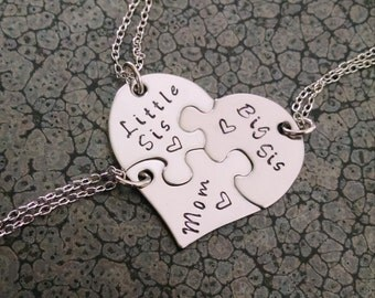 Mother's Day Gift 3 Piece Heart Necklace Mother Daughter Jewelry Hand Stamped Necklace Big Sis Little Sis Family Jewelry