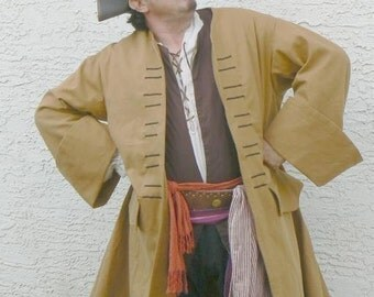 Pirate Coat Basic Canvas Jack Sparrow Renaissance Jacket Colonial Style