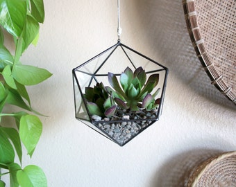 NEW // Hanging Geometric Terrarium - clear glass icosahedron made from reclaimed window glass