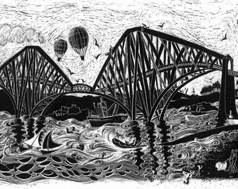 Steaming over the bridge. Scotland. Mounted print.