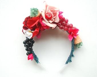 Frida Kahlo Bridal Flower Headband, Bohemian Crown Halo, Grape, Red Pink Flower Headband, Weddings Hair Accessories, Bridesmaids, Photo Prop