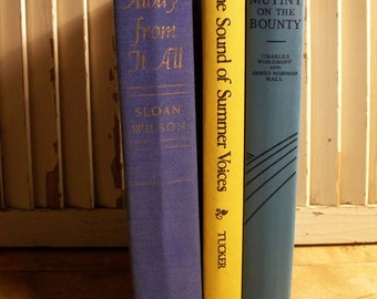 1960's Stack of Books - Mutiny on the Bounty - Away from It All - The Sound of Summer Voices - Vintage Book Decor, Cabin Cottage Book Decor