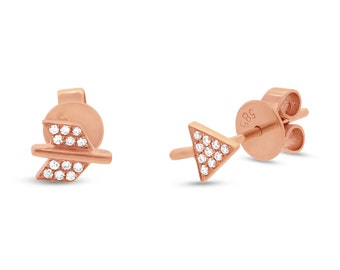 14k Rose Gold .05ct Diamond Arrow Earring