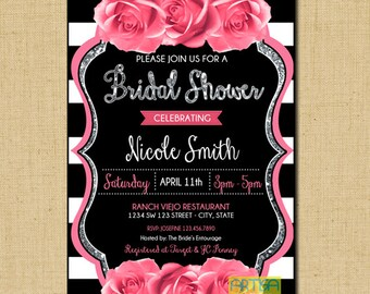 Pink Roses Invitation, Roses Bridal Shower Invitation, pink rose Birthday Invitation, Pink roses silver Glitter and black ANY OCCASION Invit
