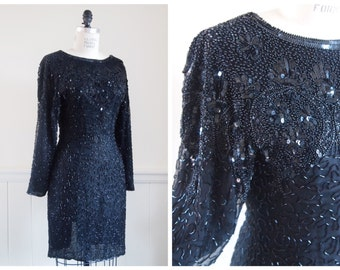 vintage 80s black SPARKLY BEADED and SEQUINED keyhole back party dress