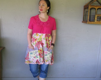 upcycled summer tunic dress Artsy clothing Bohemian flowing Aline dress m Large Eco Romantic dress funky top Lagenlook  LillieNoraDryGoods