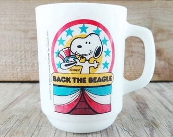 Snoopy Fire King Coffee Mug Back The Beagle Presidential Election Collector Series #1 Red White and Blue Anchor Hocking