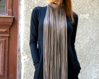 NEW Collection  Cappuccino Extravagant Fringe Long Leather Necklace   by AAKASHA A16192
