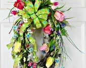 Spring Tulip Wreath, Oval Grapevine Wreath, Pink Yellow Green, Front Doir Wreath, Wreath With Bow