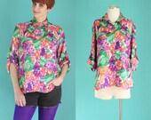 Vintage 90s Tropical Print Oversized Shirt - Colorful Silky Blouse - Tiki Shirt - Oversized Blouse - Long Shirt - Long Sleeve Summer Blouse