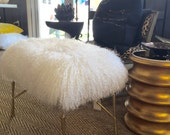 Real Natural Mongolian Lamb Fur Up Cycled Gold / Brushed Stool Bench Tibet Lamb Sheepskin Ottoman Shabby Chic