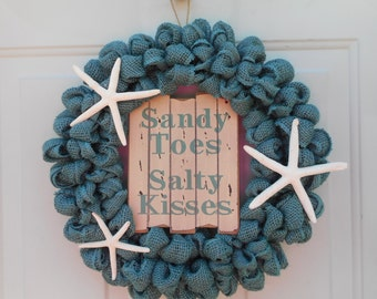 Beach wreath, Seashore wreath, Nautical wreath, Teal blue burlap wreath, Starfish wreath, Beach themed burlap wreath, Beach decor RTS