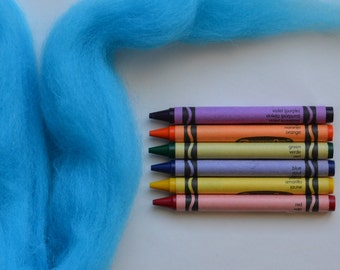 CORRIEDALE WOOL ROVING / Highlighter Blue 1 ounce / corriedale roving for needle felting, dreadlocks, wet felting, spinning, weaving, nuno