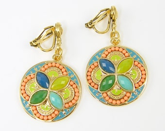 Colorful Clip on Earrings Green Clip Earrings Aqua Clip on Earrings Orange Gold Dangle Medallion Earrings |EB1-13