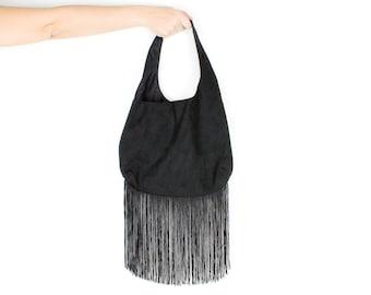 Black Suede Fringe Purse Medium Size Shoulder Bag
