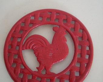 Vintage Cast Iron Rooster Trivet In Red