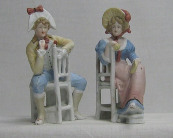 Antique Pair Heubach Bisque Figurines Man & Woman Sitting In Chairs Germany Hand Painted German Statues Victorian