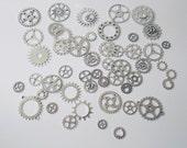 25PC. or 50PC. Antique Silver Steampunk gear & cog  assortment//Antique Silver steampunk charm assortment//Gear charm steampunk assortment