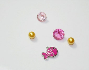 Guppy hot pink enamel with silver tone plated finish 7MM floating charm with 4 crystals //Memory locket charms // by Color Kissed Silk LLC