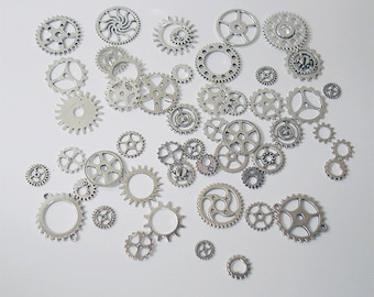 25PC. or 50PC. Antique Silver Steampunk gear & cog  assortment//Antique Silver steampunk charm assortment//Gear charm steampunk assortment