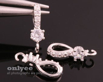 2pcs-14.5mmX4.5mmBright Rhodium plated Brass Cubic zirconia Pendant Clasp,Bail Connector(K1007S)