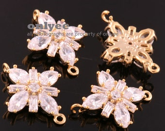 2pcs-17mmX13mm Bright Gold plated (clear)LUX Cubic zirconia Flower Connectors(K1033G)