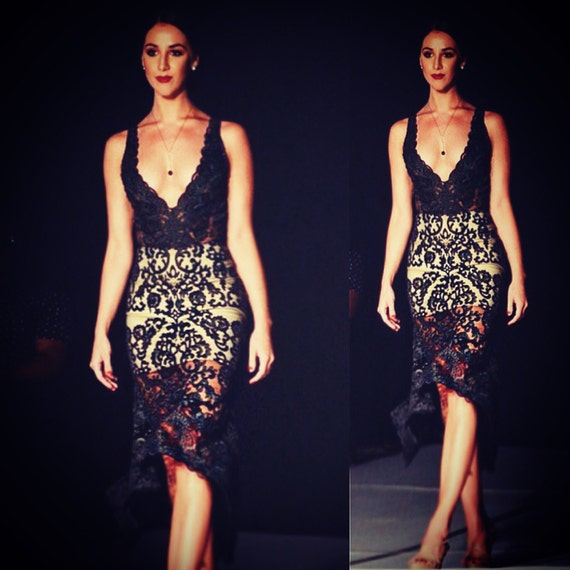 Irina Shabayeva Couture  lace deep V neck dress. Comes in white, black , nude lace . (Nude lining)