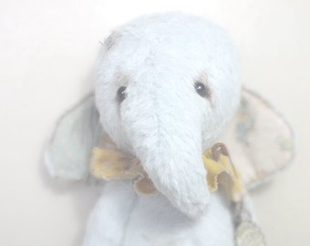 Plush Circus Elephant Blue - vintage style - handmade - collectable teddy - MADE TO ORDER