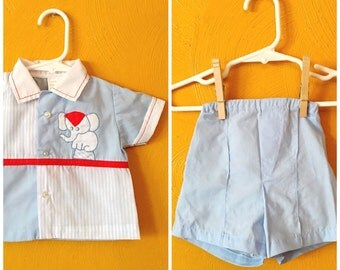 SALE.Vintage baby boy two piece elephant outfit/ retro baby clothes/ summer baby outfit/ size 0/6M