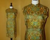 Vtg 60's 70's Mod cocktail MANDARIN Earthy paisley print taffeta sleeveless shift mini dress M//L