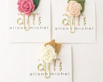 Set of 3 Rose Bud Paper Clips || Flower Paper Clips ||  Planner Accessories || Felt Flower Clips || Planner Paper Clip || Paper Clips
