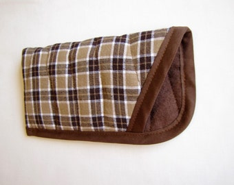 Soft Eye Glass Case, Brown Plaid Eye Glass Case, Quilted Soft Glasses Case