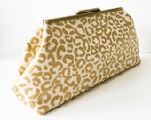 Metallic Gold Leopard Clutch