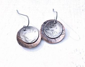 Berceau Dangle Earrings, Mixed Metals Rustic Jewelry, Hammered Copper and Sterling Earrings