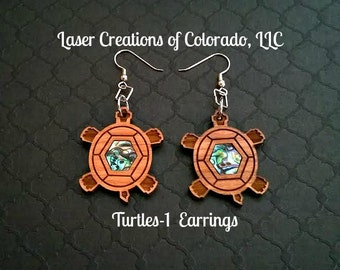Wooden Jewelry, Turtles-1, Laser Engraved