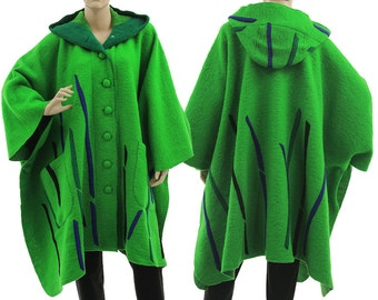 Boho hooded poncho cape green blue black, poncho boiled wool medium to plus size M-XXXL, US size 12-26, discount 100 USD - was 340 now 240