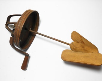 Antique Butter Churn Top, Wood Paddle, Lid, Butter Churn, Vintage, Rusty, Primitive, Screw On Lid