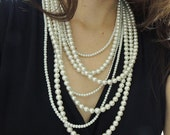 Pearl Statement Necklace - Multi Strand Pearl Necklace - Layer pearl necklace - pearl jewelry, chunky necklace, Bib necklace