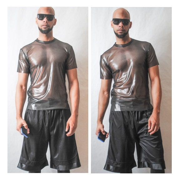 Metallic Stretch Mesh T-Shirt Inspired By- Givenchy,YSL,Balmain,DSquared2,MCM