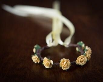 Yellow Rose Flower Garland - for HAIR BUNS