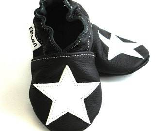 soft sole baby shoes infant kids children white star black  12-18m ebooba ST-13-B-M-3