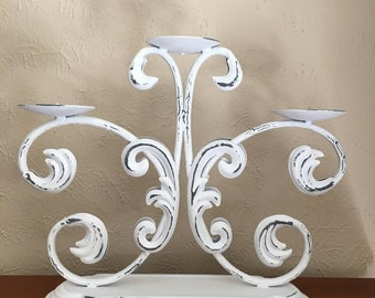 STORE WIDE SALE Shabby Chic Distressed Candelabra - 3 Tier - Pillar Candleholder [alo]